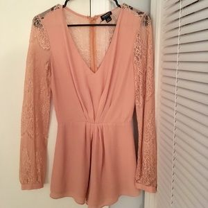Pants - Women's Peach Long Sleeve Lace Romper Size Small